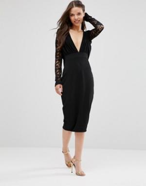 Hedonia Платье-футляр с кружевными рукавами. Цвет: черный