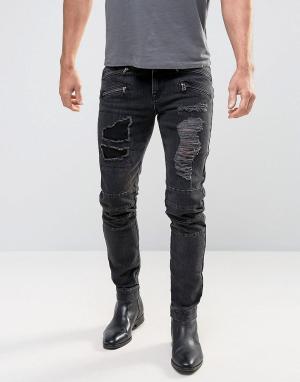 ASOS Черные выбеленные джинсы скинни в байкерском стиле. Цвет: черный