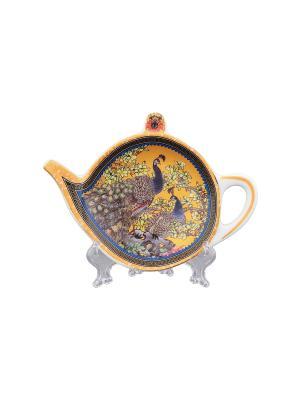 Подставка под чайный пакетик Павлин золотой Elan Gallery. Цвет: золотистый, синий, коричневый, розовый