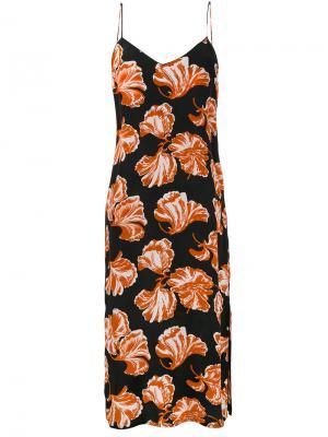 Платье-комбинация Geroux с цветочным рисунком Ganni. Цвет: чёрный