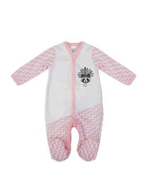 Комбинезон нательный для малыша NewBorn. Цвет: розовый, белый