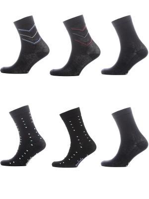 Носки Мужские, комплект 6 пар Malerba. Цвет: черный