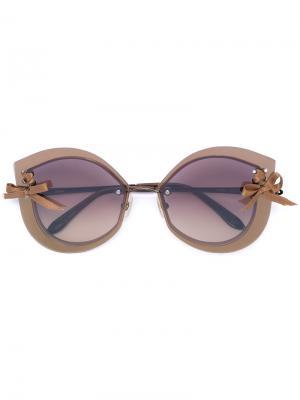 Солнцезащитные очки Loree Rodkin Flirt Sama Eyewear. Цвет: коричневый