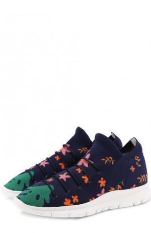 Текстильные кроссовки Flower с принтом на шнуровке Joshua Sanders. Цвет: темно-синий