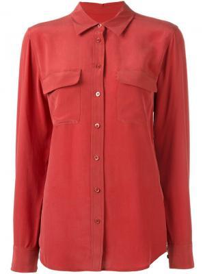 Блузка в стиле милитари Equipment. Цвет: розовый и фиолетовый
