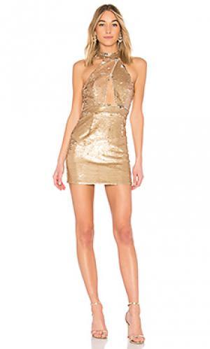 Мини-платье на бретельках seraphina NBD. Цвет: металлический золотой
