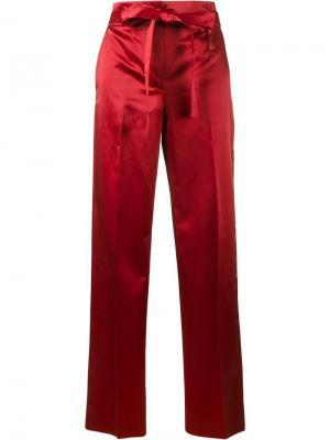 Атласные брюки-палаццо Helmut Lang. Цвет: красный