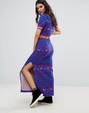 Anna Sui Трикотажная юбка из комплекта Runway. Цвет: синий