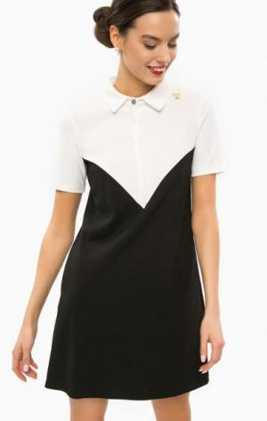Платье-футболка с отложным воротником POIS. Цвет: черный