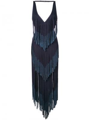 Платье шифт с вышивкой Hervé Léger. Цвет: синий