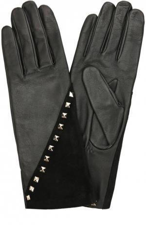 Кожаные перчатки с отделкой из замши и заклепками Agnelle. Цвет: черный