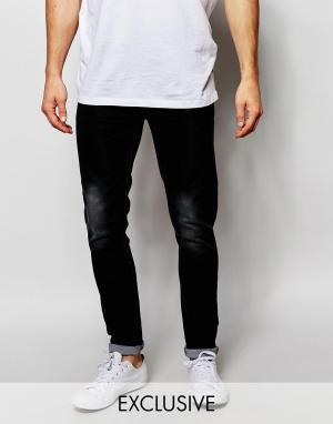 Liquor & Poker Выбеленные черные джинсы скинни. Цвет: черный