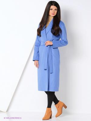 Пальто TREVI. Цвет: голубой