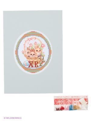 Наборы для вышивания с бисером и паспарту Зайчата Матренин Посад. Цвет: голубой