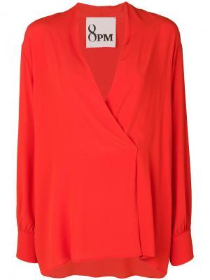Блузка с запахом и Vобразным вырезом 8pm. Цвет: жёлтый и оранжевый
