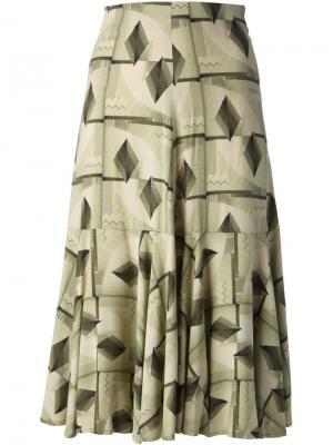 Юбка с геометрическим рисунком Biba Vintage. Цвет: зелёный