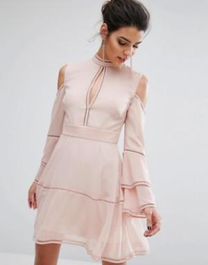Keepsake Платье мини с длинными рукавами Night Dance. Цвет: розовый