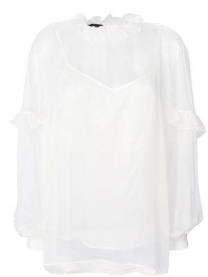 Полупрозрачная блузка с оборкой Rochas. Цвет: белый