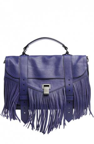 Сумка PS1 Fringe Medium с бахромой Proenza Schouler. Цвет: синий
