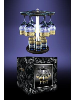 Набор с барной стойкой 13 предметов рисунком Русский узор Гусь-Хрустальный. Цвет: прозрачный