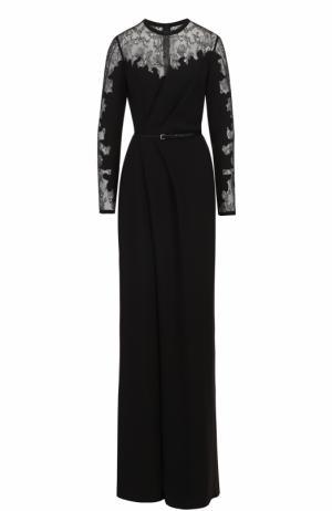 Приталенный комбинезон с драпировкой и кружевной отделкой Elie Saab. Цвет: черный