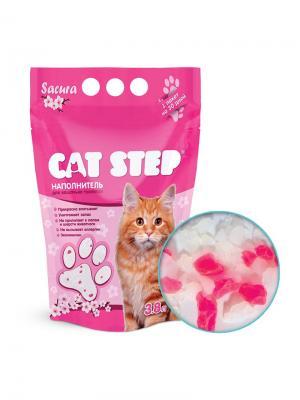 Cиликагель 3,8л Сакура наполнитель для кошачьих туалетов. CAT STEP. Цвет: прозрачный