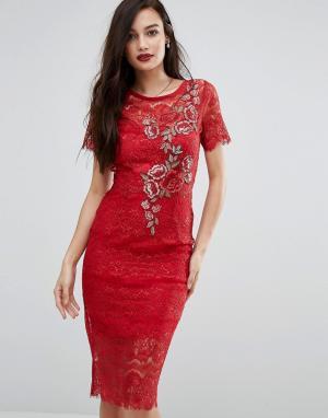 Body Frock Кружевное облегающее платье с цветочной аппликацией Bodyfrock. Цвет: красный