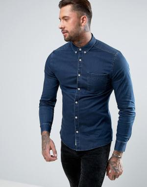 River Island Темно-синяя джинсовая рубашка. Цвет: темно-синий