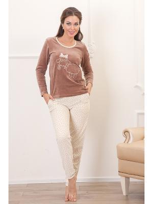 Пижама CLEO. Цвет: коричневый