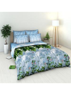 Комплект постельного белья из бязи 2 спальный Василиса. Цвет: голубой, зеленый