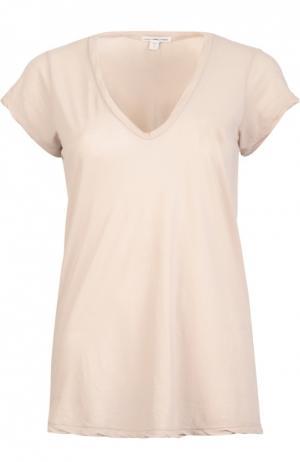 Хлопковая футболка с V-образным вырезом James Perse. Цвет: персиковый