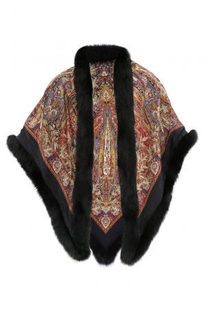 Шелковая шаль с отделкой из меха песца 120111 Kaminsky. Цвет: разноцветный