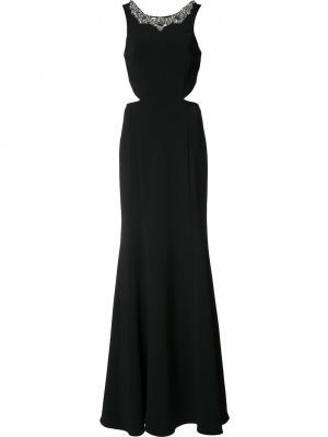 Длинное платье с декорированным воротником Marchesa Notte. Цвет: чёрный