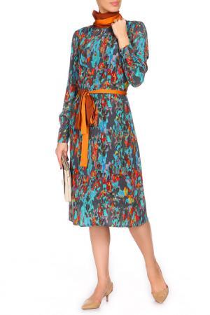 Яркое платье с поясом и воротником BGN. Цвет: синий
