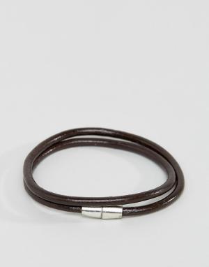 Jack & Jones Коричневый кожаный браслет. Цвет: коричневый