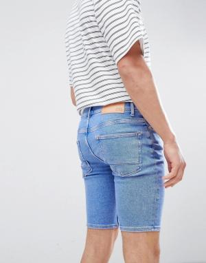 River Island Голубые джинсовые шорты скинни. Цвет: синий