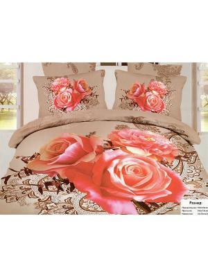 Комплект постельного белья, 1,5 спальный Sofi de Marko. Цвет: бежевый, красный