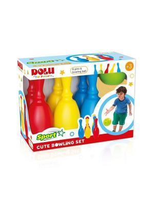 Миленький набор боулинг из 6 кеглей и 1 шаром DOLU. Цвет: синий, желтый, красный