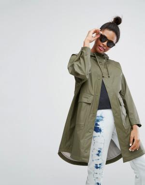 Monki Куртка-дождевик в стиле милитари. Цвет: зеленый