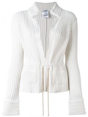 Трикотажный пиджак Chanel Vintage. Цвет: белый