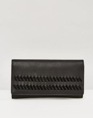 ASOS Кожаный кошелек с замшевой отделкой. Цвет: черный