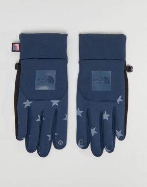 The North Face Синие перчатки со звездным принтом International E-Tip. Цвет: синий