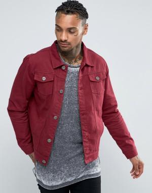 Liquor & Poker Бордовая джинсовая куртка. Цвет: фиолетовый