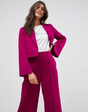 ASOS Розовый укороченный блейзер Tailored. Цвет: розовый