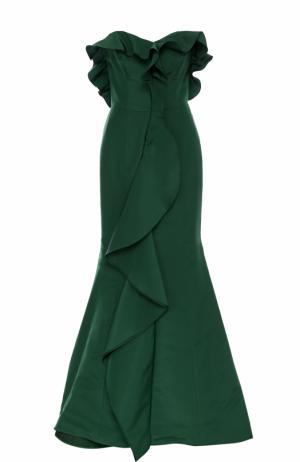 Шелковое платье-бюстье с подолом и оборками Oscar de la Renta. Цвет: зеленый