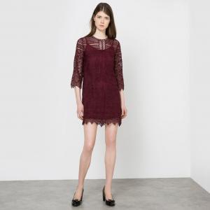 Платье из кружева Claire SUNCOO. Цвет: бордовый