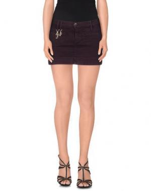 Джинсовая юбка JFOUR. Цвет: красно-коричневый