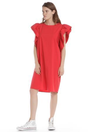 Полуприлегающее платье с рукавами Бабочка HANNY DEEP. Цвет: красный