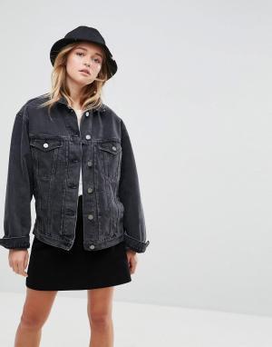 ASOS Черная джинсовая выбеленная куртка. Цвет: черный