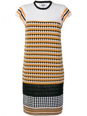 Вязаное платье с рисунком MSGM. Цвет: жёлтый и оранжевый